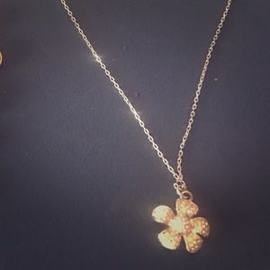 Silver Flower Charm Necklace